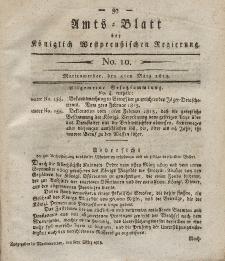 Amts-Blatt der Königlich Westpreußischen Regierung zu Marienwerder, 5. März 1813, No. 10.