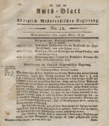 Amts-Blatt der Königlich Westpreußischen Regierung zu Marienwerder, 19. März 1813, No. 12.