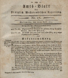Amts-Blatt der Königlich Westpreußischen Regierung zu Marienwerder, 23. April 1813, No. 17.