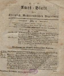 Amts-Blatt der Königlich Westpreußischen Regierung zu Marienwerder, 6. Januar 1815, No. 1.