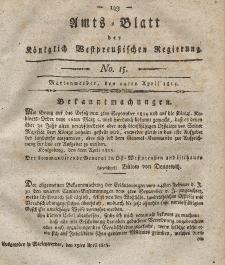 Amts-Blatt der Königlich Westpreußischen Regierung zu Marienwerder, 14. April 1815, No. 15.