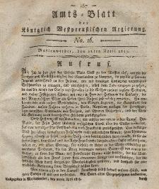 Amts-Blatt der Königlich Westpreußischen Regierung zu Marienwerder, 21. April 1815, No. 16.