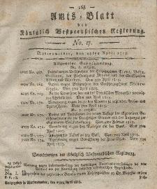Amts-Blatt der Königlich Westpreußischen Regierung zu Marienwerder, 28. April 1815, No. 17.