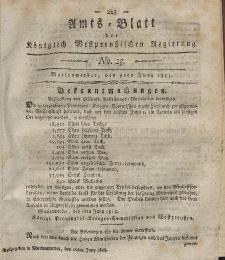 Amts-Blatt der Königlich Westpreußischen Regierung zu Marienwerder, 9. Juni 1815, No. 23.