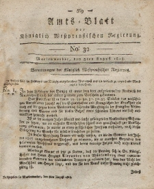 Amts-Blatt der Königlich Westpreußischen Regierung zu Marienwerder, 3. August 1813, No. 32.