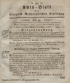 Amts-Blatt der Königlich Westpreußischen Regierung zu Marienwerder, 29. September 1815, No. 39.