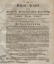 Amts-Blatt der Königlich Westpreußischen Regierung zu Marienwerder, 20. Oktober 1815, No. 42.
