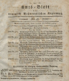 Amts-Blatt der Königlich Westpreußischen Regierung zu Marienwerder, 27. Oktober 1815, No. 43.