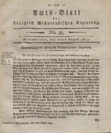 Amts-Blatt der Königlich Westpreußischen Regierung zu Marienwerder, 20. August 1813, No. 35.