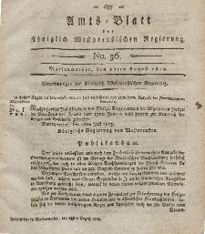 Amts-Blatt der Königlich Westpreußischen Regierung zu Marienwerder, 27. August 1813, No. 36.