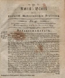 Amts-Blatt der Königlich Westpreußischen Regierung zu Marienwerder, 8. Dezember 1815, No. 49.