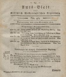 Amts-Blatt der Königlich Westpreußischen Regierung zu Marienwerder, 24. September 1813, No. 40.