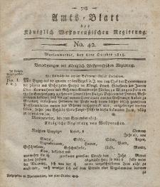 Amts-Blatt der Königlich Westpreußischen Regierung zu Marienwerder, 8. Oktober 1813, No. 42.