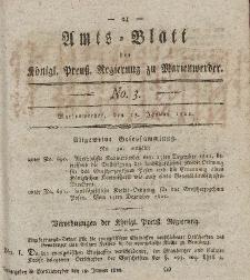 Amts-Blatt der Königl. Preuß. Regierung zu Marienwerder, 18. Januar 1822, No. 3.