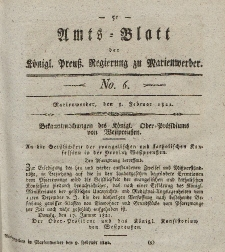 Amts-Blatt der Königl. Preuß. Regierung zu Marienwerder, 8. Februar 1822, No. 6.