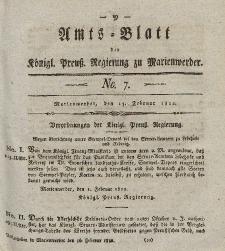 Amts-Blatt der Königl. Preuß. Regierung zu Marienwerder, 15. Februar 1822, No. 7.
