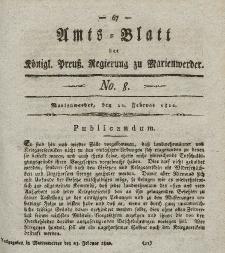 Amts-Blatt der Königl. Preuß. Regierung zu Marienwerder, 22. Februar 1822, No. 8.