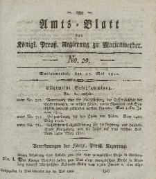 Amts-Blatt der Königl. Preuß. Regierung zu Marienwerder, 17. Mai 1822, No. 20.