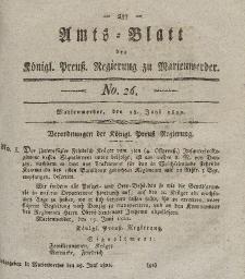 Amts-Blatt der Königl. Preuß. Regierung zu Marienwerder, 28. Juni 1822, No. 26.