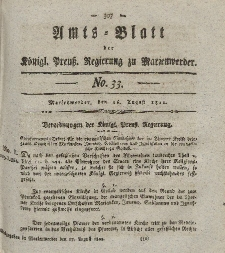 Amts-Blatt der Königl. Preuß. Regierung zu Marienwerder, 16. August 1822, No. 33.