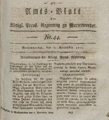 Amts-Blatt der Königl. Preuß. Regierung zu Marienwerder, 1. November 1822, No. 44.