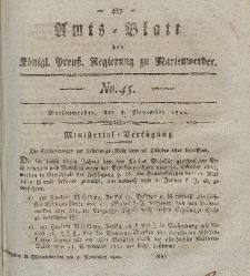 Amts-Blatt der Königl. Preuß. Regierung zu Marienwerder, 8. November 1822, No. 45.