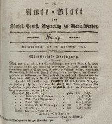 Amts-Blatt der Königl. Preuß. Regierung zu Marienwerder, 29. November 1822, No. 48.