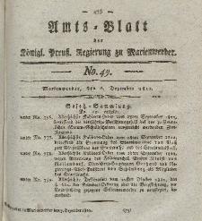 Amts-Blatt der Königl. Preuß. Regierung zu Marienwerder, 6. Dezember 1822, No. 49.
