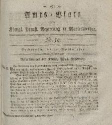 Amts-Blatt der Königl. Preuß. Regierung zu Marienwerder, 13. Dezember 1822, No. 50.