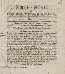 Amts-Blatt der Königl. Preuß. Regierung zu Marienwerder, 6. Januar 1826, No. 1.