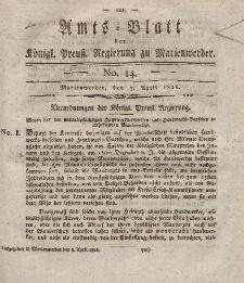Amts-Blatt der Königl. Preuß. Regierung zu Marienwerder, 7. April 1826, No. 14.