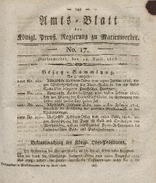 Amts-Blatt der Königl. Preuß. Regierung zu Marienwerder, 28. April 1826, No. 17.