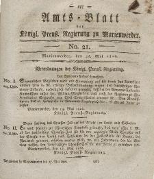 Amts-Blatt der Königl. Preuß. Regierung zu Marienwerder, 26. Mai 1826, No. 21.