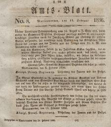 Amts-Blatt der Königl. Regierung zu Marienwerder, 19. Februar 1836, No. 8.