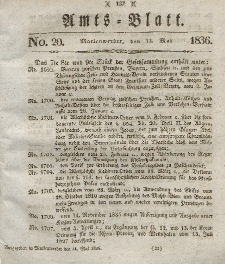 Amts-Blatt der Königl. Regierung zu Marienwerder, 13. Mai 1836, No. 20.