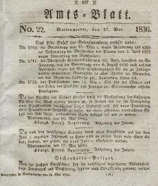 Amts-Blatt der Königl. Regierung zu Marienwerder, 27. Mai 1836, No. 22.