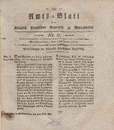 Amts-Blatt der Königl. Preuß. Regierung zu Marienwerder, 3. Juli 1818, No. 27.