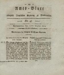 Amts-Blatt der Königl. Preuß. Regierung zu Marienwerder, 22. Oktober 1819, No. 43.