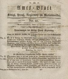 Amts-Blatt der Königl. Preuß. Regierung zu Marienwerder, 2. Juni 1826, No. 22.