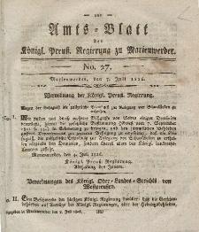 Amts-Blatt der Königl. Preuß. Regierung zu Marienwerder, 7. Juli 1826, No. 27.