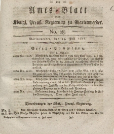 Amts-Blatt der Königl. Preuß. Regierung zu Marienwerder, 14. Juli 1826, No. 28.