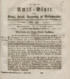 Amts-Blatt der Königl. Preuß. Regierung zu Marienwerder, 11. August 1826, No. 32.