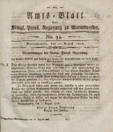Amts-Blatt der Königl. Preuß. Regierung zu Marienwerder, 25. August 1826, No. 34.