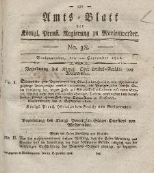Amts-Blatt der Königl. Preuß. Regierung zu Marienwerder, 22. September 1826, No. 38.