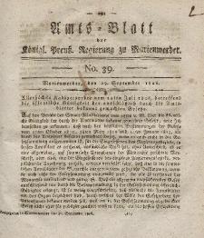 Amts-Blatt der Königl. Preuß. Regierung zu Marienwerder, 29. September 1826, No. 39.