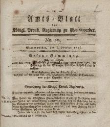 Amts-Blatt der Königl. Preuß. Regierung zu Marienwerder, 6. Oktober 1826, No. 40.