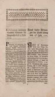 Schluss beyder Ordnungen der Stadt Elbing vom 19-ten Febr. 1766