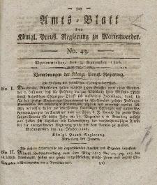 Amts-Blatt der Königl. Preuß. Regierung zu Marienwerder, 3. November 1826, No. 43.