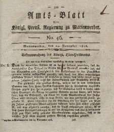Amts-Blatt der Königl. Preuß. Regierung zu Marienwerder, 24. November 1826, No. 46.