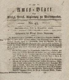 Amts-Blatt der Königl. Preuß. Regierung zu Marienwerder, 8. Dezember 1826, No. 48.
